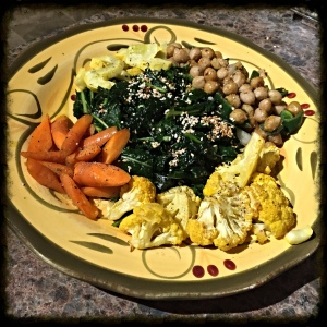 Using what I had around the kitchen to make a tasty and filling kale salad.